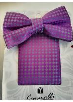 Луксозен мъжки комплект папийонка и кърпичка копринен жакард Cannalli в сиво и виолетово