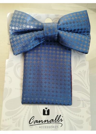 Елегантен мъжки комплект за подарък папийонка и кърпичка в сребърно и синьо на Cannalli
