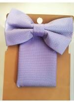 Комплект мъжка папийонка и кърпичка за сватба и бал в светло лилаво