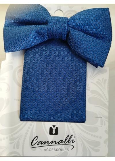 Мъжки комплект бизнес клас папийонка и кърпичка от тъмно син жакард на Cannalli
