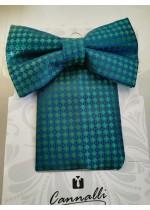 Комплект луксозна мъжка папийонка и кърпичка за джоб Cannalli в тъмно синьо и зелено