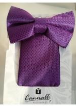 Луксозен мъжки комплект папийонка и кърпичка от сатен в тъмно виолетово на Cannalli