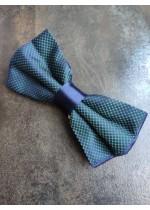 Луксозна ръчно изработена мъжка папийонка цвят тъмно синьо зелено