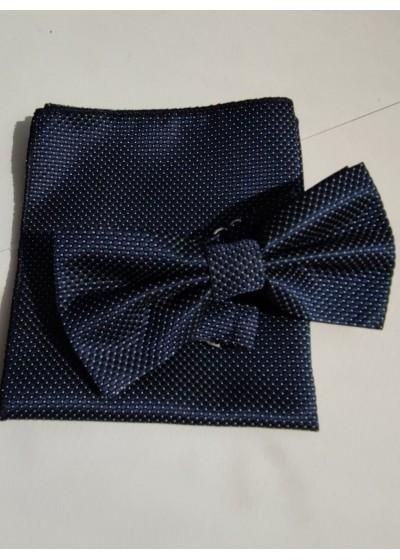 Мъжки комплект папийонка и кърпичка за джоб в тъмно синьо с дискретни бели точки