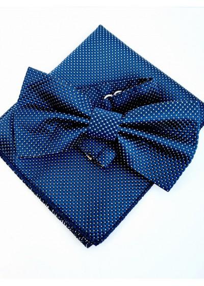 Стилен мъжки комплект папийонка и кърпичка за джоб в тъмно синьо с бели точки