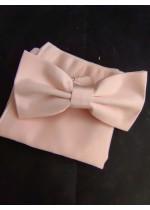 Папийонка в цвят розова праскова комплект с кърпичка за сватба и бал