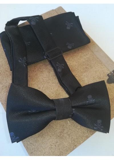 Луксозен мъжки комплект папийонка и кърпичка с черепи
