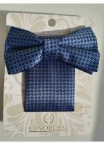 Елегантен мъжки комплект Gino Rossi папийонка и кърпичка за джоб в тъмно синьо за сватба и бал