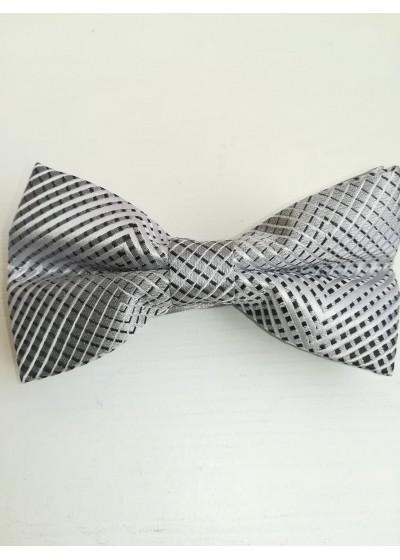 Папийонка в сребристо сиво за бизнес и официално облекло
