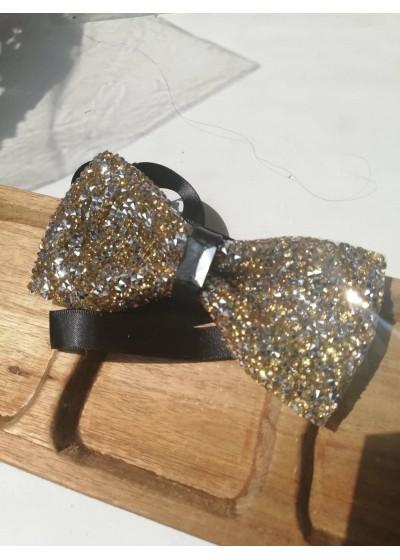 Мъжка кристална папионка в златно