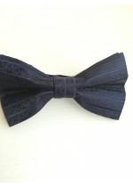 Класическа папийонка копринен жакард в тъмно синьо