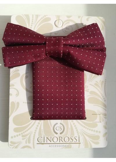 Комплект папийонка и кърпичка за джоб в тъмно червено Gino Rossi