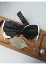 Папийонка за младоженец черно и бяло с обков в комплект с бутониера