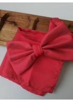 Мъжка папийонка цвят корал в комплект с кърпичка