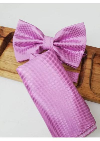 Мъжка папийонка в светло лилаво в комплект с кърпичка