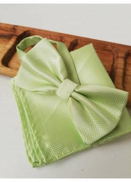 Мъжка папийонка в светло зелено в комплект с кърпичка