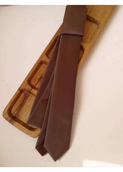 Тънка официална мъжка копринена вратовръзка в цвят бронз К 0888
