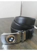 Луксозен мъжки колан от естествена кожа с автоматична двустранна тока с емблема BMW и подаръчна чанта