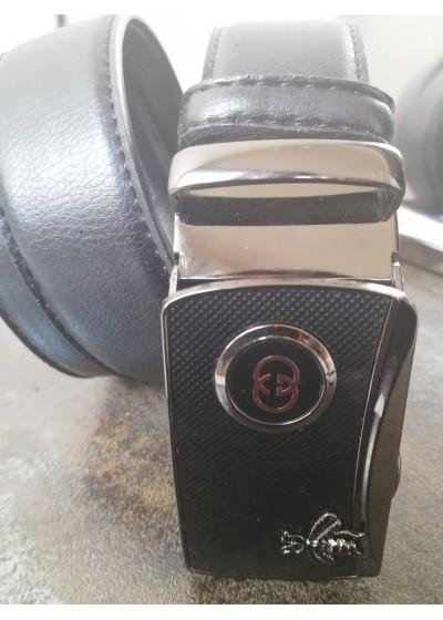 Мъжки колан естествена кожа с автоматична тока с емблема Gucci и подаръчна чанта