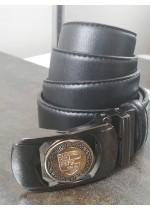 Ефектен мъжки колан от естествена кожа с автоматична двулицева тока Porsche и подаръчна чанта
