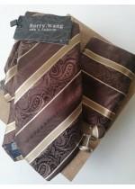 Мъжка вратовръзка комплект с ръкавели и кърпичка в кафяво и бежово