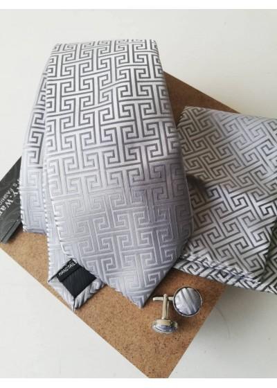 Мъжка вратовръзка комплект с ръкавели и кърпичка в сребристо сиво