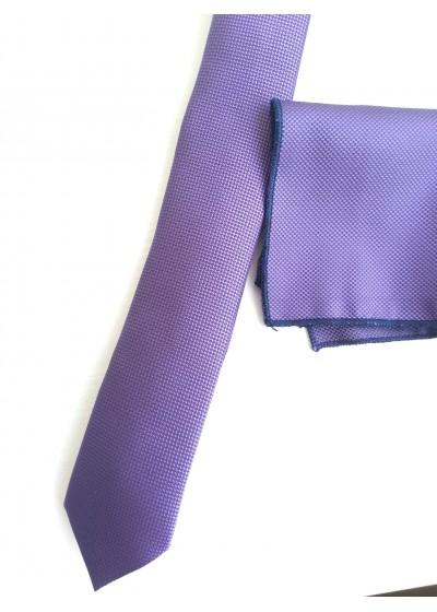 Комплект светло лилава тънка вратовръзка и кърпичка за джоб за бизнес и специални поводи