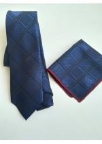 Луксозна вратовръзка и кърпичка в тъмно синьо и черно