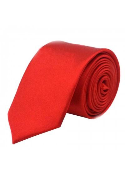 Вратовръзка сатен в ярко червено тънка