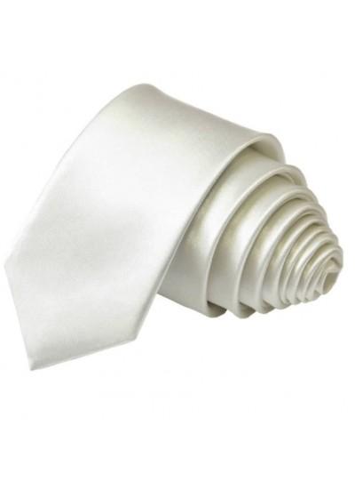 Тънка копринена вратовръзка в бяло