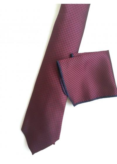 Стилна мъжка вратовръзка и кърпичка в цвят бордо с черен акцент за бизнес и официални поводи