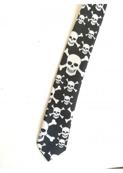 Вратовръзка с черепи в черно и бяло Big Skulls