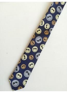 Тънка вратовръзка с емоджита в тъмно синьо, бежово и сиво