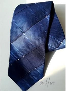 Елегантна вратовръзка с геометрични мотиви в тъмно и кралско синьо