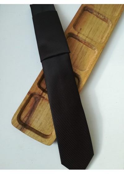 Бизнес клас мъжка вратовръзка жакард в черно и тъмно лилаво by Greda K0883