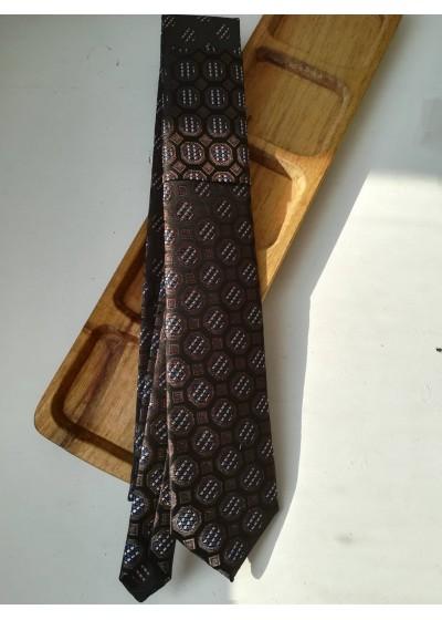 Бизнес клас луксозна мъжка вратовръзка от копринен жакард със стилни мотиви комбинация тъмно синьо, кафяво и бежово by Polovito К0884
