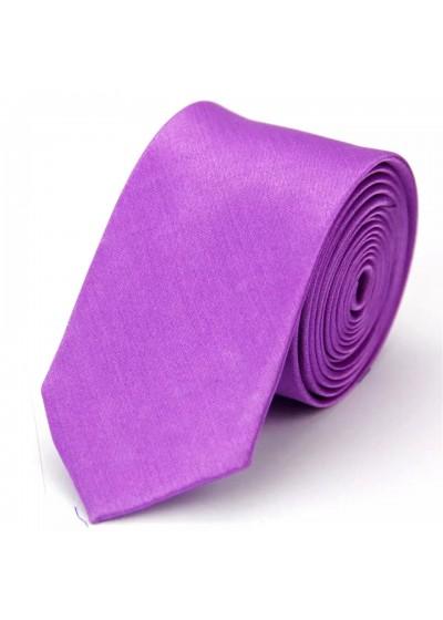Тънка вратовръзка за сватба и бал в люляково лилаво