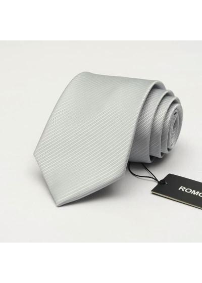 Красива сребристо сива вратовръзка с релеф на райета