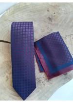 Елегантен комплект вратовръзка и кърпичка за джоб в тъмно синьо и бордо с преливащ ефект