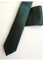 Луксозен комплект тъмно зелена вратовръзка и кърпичка с акцент тъмно сини точки