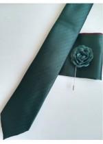 Стилен комплект за младоженец вратовръзка кърпичка и бутониера в тъмно зелено