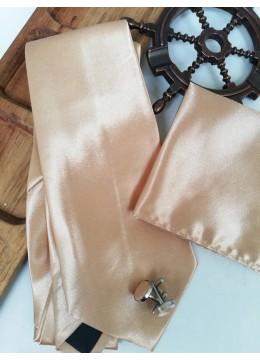Мъжки комплект вратовръзка кърпичка и ръкавели в бежово