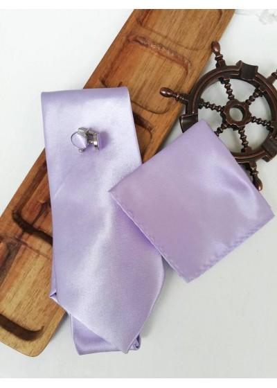 Елегантен мъжки комплект вратовръзка кърпичка и ръкавели в светло лилаво