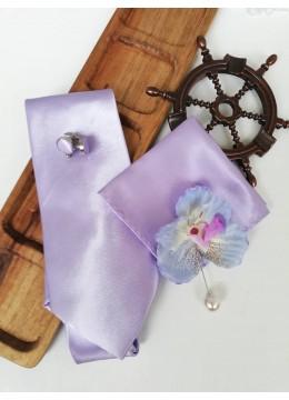 Красив мъжки комплект вратовръзка кърпичка и ръкавели в светло лилаво