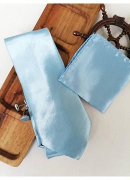 Стилен мъжки комплект вратовръзка кърпичка и ръкавели в светло синьо