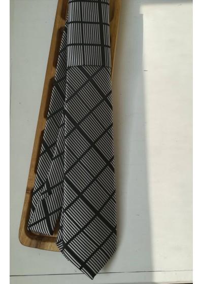 Луксозна мъжка копринена вратовръзка by Polovito в сиво и черно