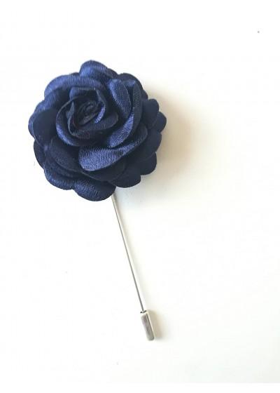 Бутониера за младоженец и кум цвят тъмно синьо