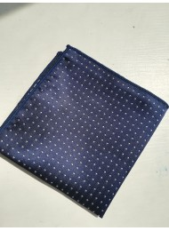 Луксозна мъжка кърпичка за джоб в тъмно синьо с бели точки
