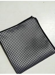 Луксозна мъжка кърпичка за джоб в черно и бяло
